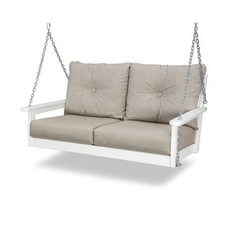 Vineyard Deep Seating Swing in White / Cast Ash