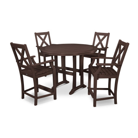 Braxton 5-Piece Nautical Trestle Arm Chair Counter Set in Mahogany