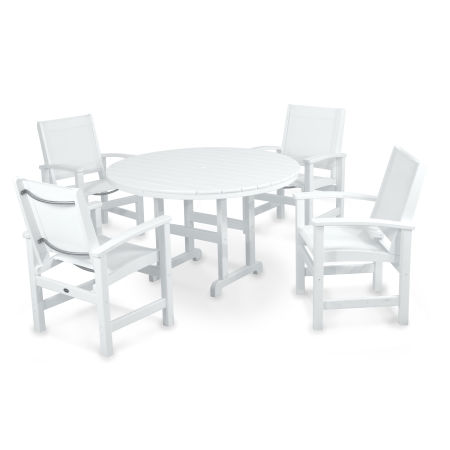 Coastal 5-Piece Dining Set in White / White Sling