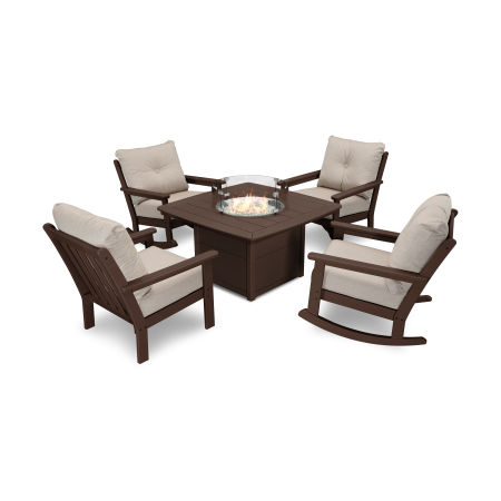 Vineyard 5-Piece Deep Seating Rocking Chair Conversation Set with Fire Pit Table in Mahogany / Cast Ash