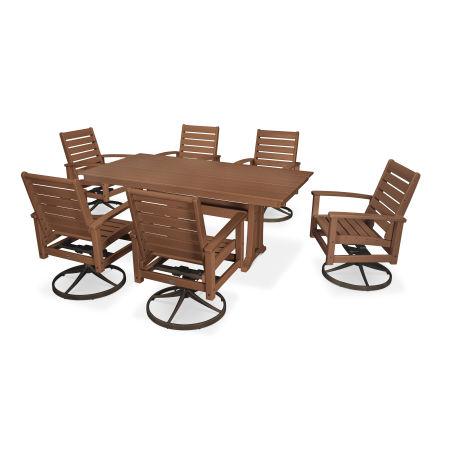 7 Piece Signature Swivel Rocking Chair Dining Set in Textured Bronze / Teak