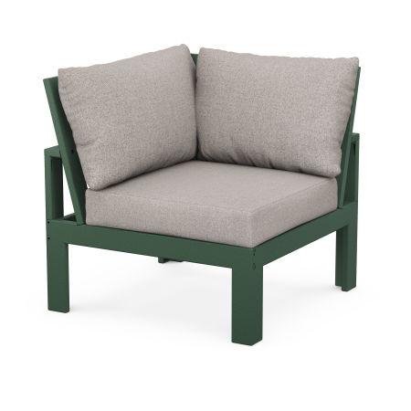 Modular Corner Chair in Green / Weathered Tweed
