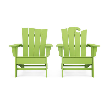 Wave 2-Piece Adirondack Set with The Wave Chair Left in Lime