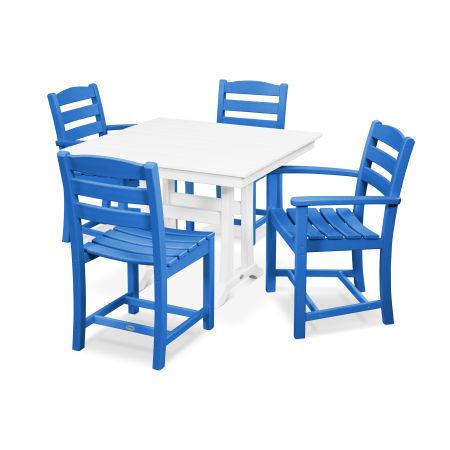 La Casa Café 5-Piece Farmhouse Trestle Dining Set in Pacific Blue / White