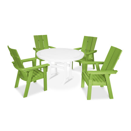 Modern Adirondack 5-Piece Nautical Trestle Dining Set in Lime / White