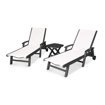 Coastal 3-Piece Wheeled Chaise Set in Black / White Sling