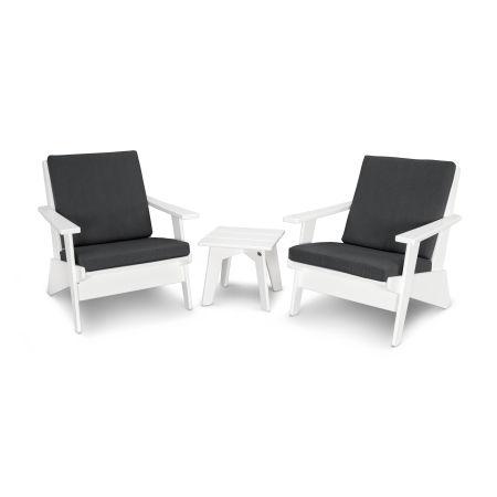 Riviera Modern Lounge 3-Piece Set in White / Spectrum Carbon