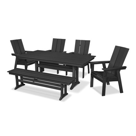 Modern Adirondack 6-Piece Farmhouse Dining Set with Bench in Black