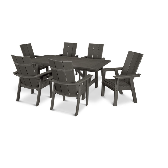 Modern Curveback Adirondack 7-Piece Rustic Farmhouse Dining Set in Vintage Finish