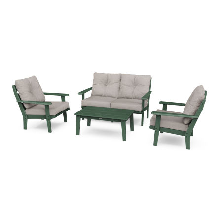 Lakeside 4-Piece Deep Seating Set in Green / Weathered Tweed