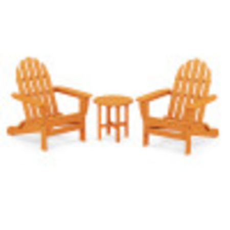 Classic Adirondack Folding Adirondack 3-Piece Set in Tangerine