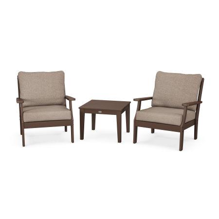 Braxton 3-Piece Deep Seating Set in Mahogany / Spiced Burlap
