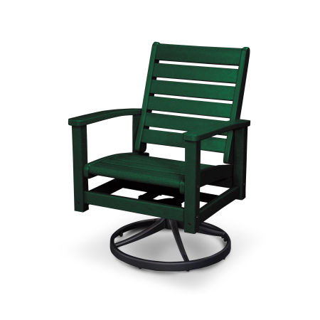 Signature Swivel Rocking Chair in Textured Black / Green