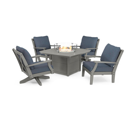 Braxton 5-Piece Deep Seating Set with Fire Table in Slate Grey / Sancy Denim