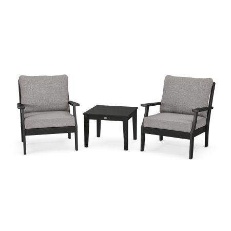 Braxton 3-Piece Deep Seating Set in Black / Grey Mist