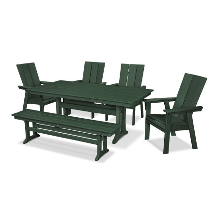Modern Adirondack 6-Piece Farmhouse Dining Set with Bench in Green