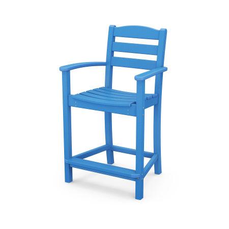 La Casa Café Counter Arm Chair in Pacific Blue