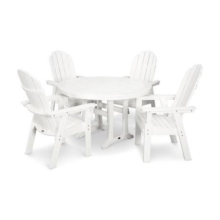 Vineyard Adirondack 5-Piece Nautical Trestle Dining Set in White
