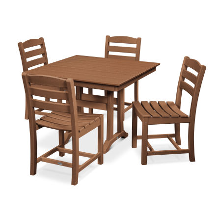La Casa Café 5-Piece Farmhouse Trestle Side Chair Dining Set in Teak