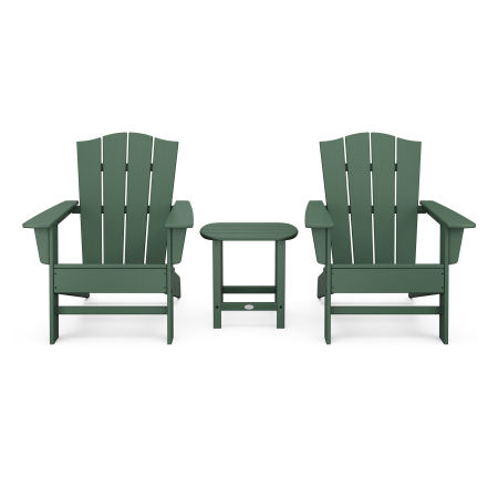 Wave 3-Piece Adirondack Chair Set with The Crest Chairs in Green