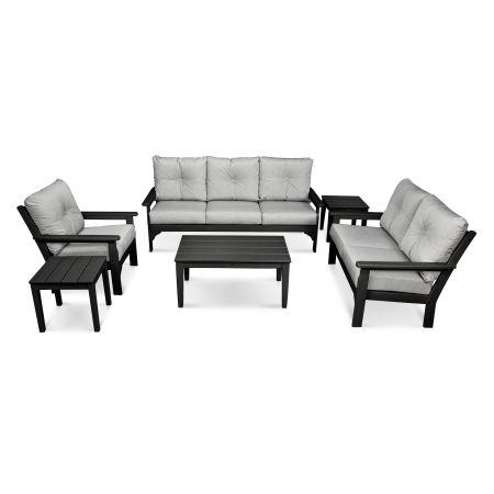 Vineyard 6-Piece Deep Seating Set in Black / Canvas Granite