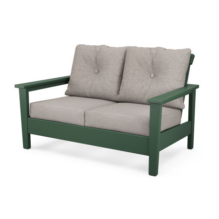 Prescott Deep Seating Settee in Green / Weathered Tweed