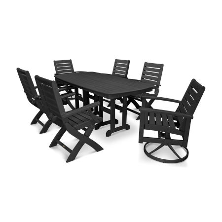 Signature 7-Piece Swivel Dining Set in Textured Black / Black
