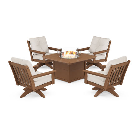 Vineyard 5-Piece Deep Seating Swivel Conversation Set with Fire Pit Table in Teak / Antique Beige