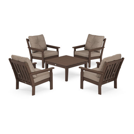 Vineyard 5-Piece Deep Seating Conversation Set in Mahogany / Spiced Burlap