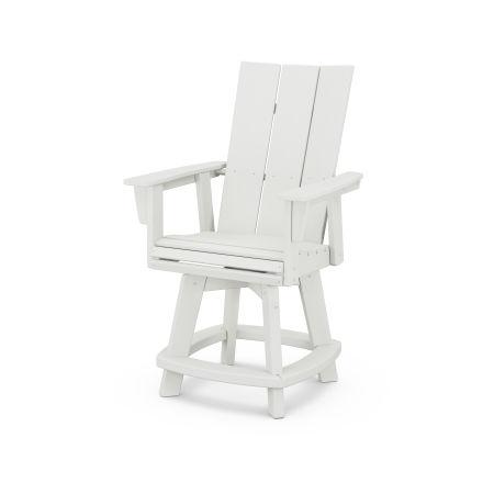 Modern Adirondack Swivel Counter Chair in Vintage White