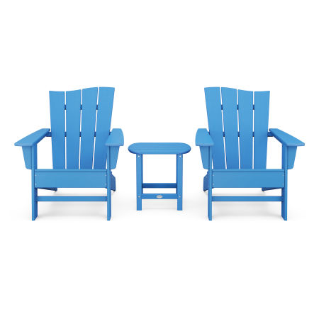 Wave 3-Piece Adirondack Chair Set in Pacific Blue