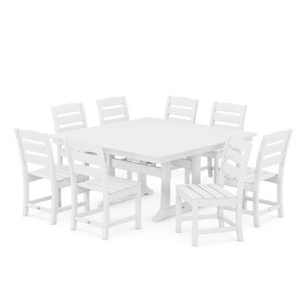 Lakeside 9-Piece Farmhouse Trestle Dining Set in White