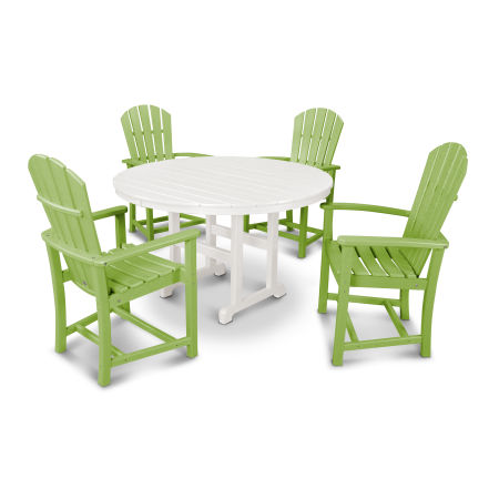 Palm Coast 5-Piece Dining Set in Lime / White