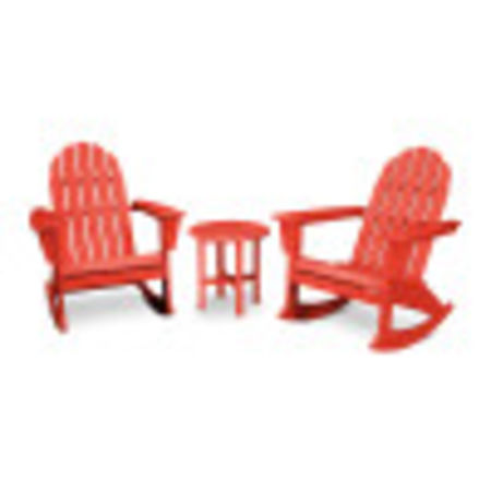 Vineyard 3-Piece Adirondack Set in Sunset Red
