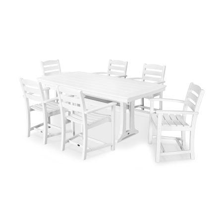 La Casa Café 7 Piece Arm Chair Dining Set in White
