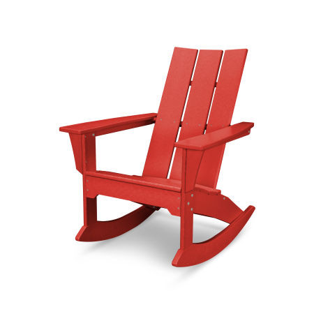 Modern Adirondack Rocker in Sunset Red