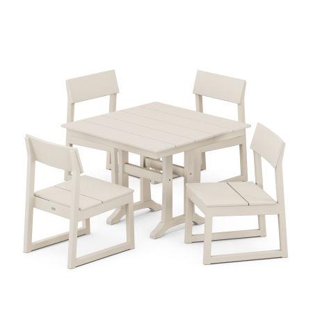 EDGE 5-Piece Farmhouse Trestle Side Chair Dining Set in Sand