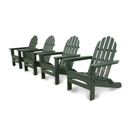Classics 4-Piece Folding Adirondack Conversation Set in Green