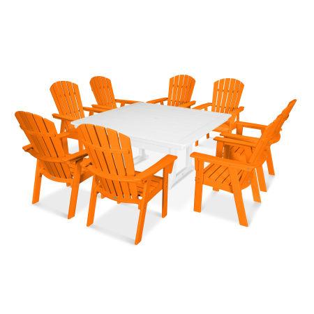 Nautical Adirondack 9-Piece Trestle Dining Set in Tangerine / White