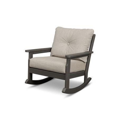 Vineyard Deep Seating Rocking Chair in Vintage Coffee / Cast Ash