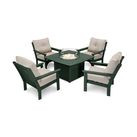 Vineyard 5-Piece Conversation Set with Fire Pit Table in Green / Cast Ash