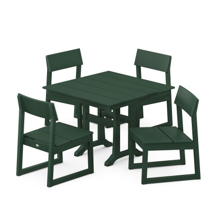EDGE 5-Piece Farmhouse Trestle Side Chair Dining Set in Green