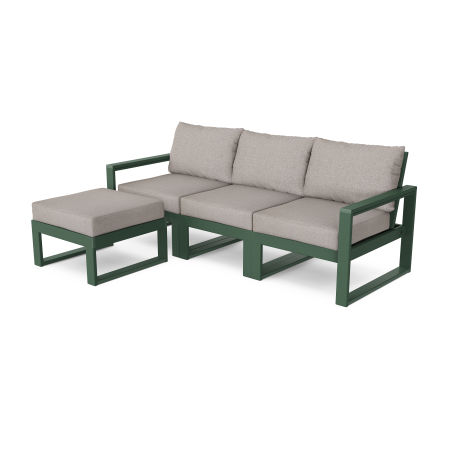 EDGE 4-Piece Modular Deep Seating Set with Ottoman in Green / Weathered Tweed
