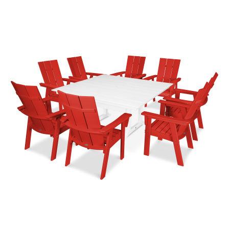 Modern Adirondack 9-Piece Farmhouse Dining Set in Sunset Red / White