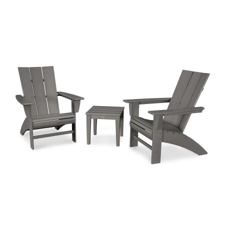 Modern 3-Piece Curveback  Adirondack Set in Slate Grey