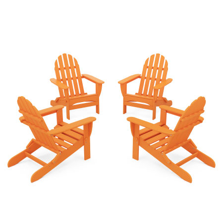 4-Piece Classic Folding Adirondack Conversation Set in Tangerine