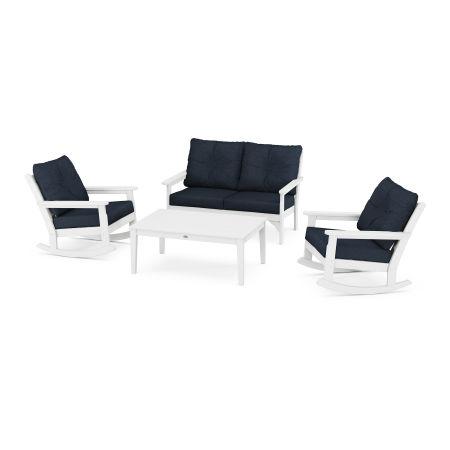 Vineyard 4-Piece Deep Seating Rocking Chair Set in White / Marine Indigo