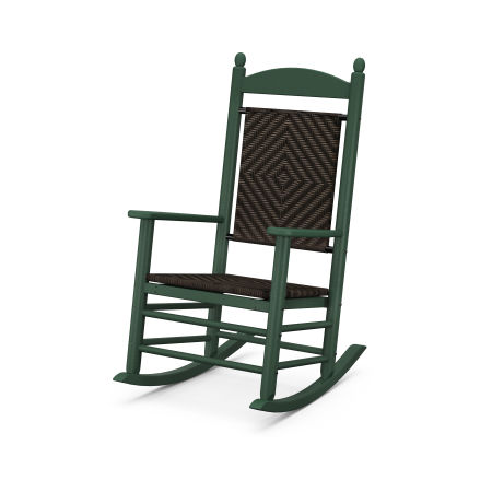 Jefferson Woven Rocking Chair in Green Frame / Cahaba