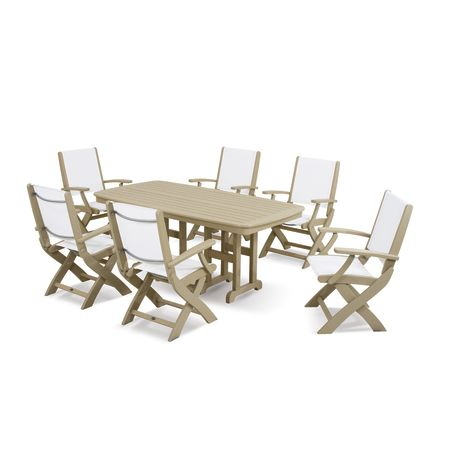 Coastal 7-Piece Dining Set in Sand / White Sling