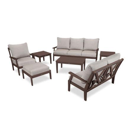 Braxton 7-Piece Deep Seating Set in Mahogany / Cast Ash